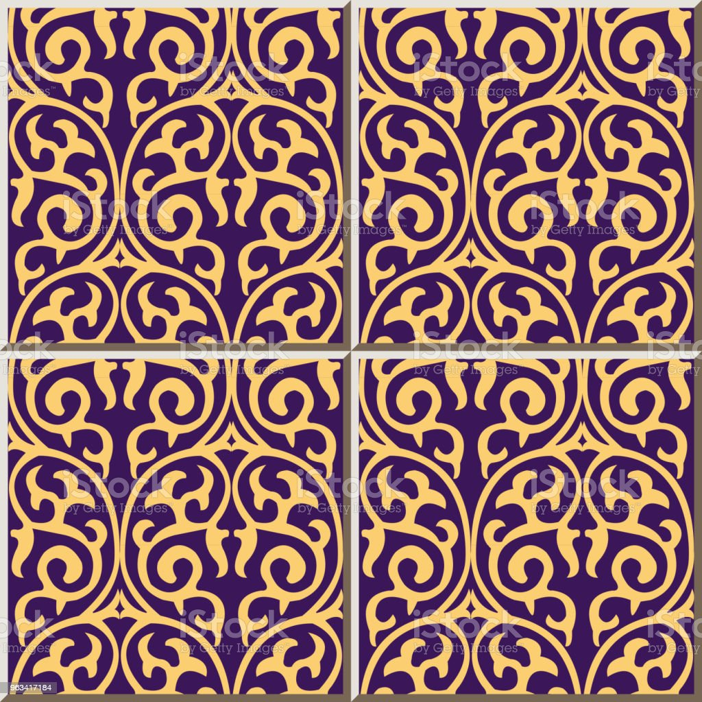 Ceramic tile pattern round curve spiral cross frame nature vine - Grafika wektorowa royalty-free (Antyczny)
