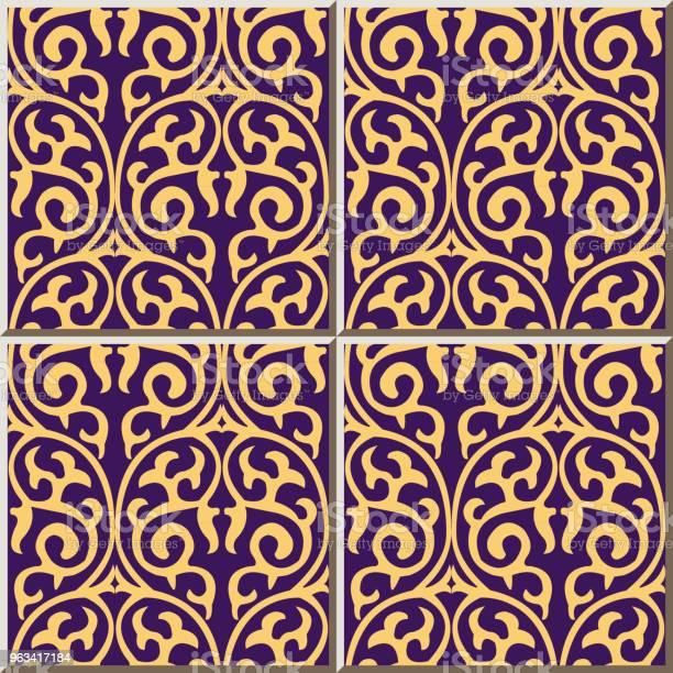 Wzór Płytki Ceramiczne Okrągła Krzywa Spiralna Krzyżowa Natura Winorośli - Stockowe grafiki wektorowe i więcej obrazów Antyczny