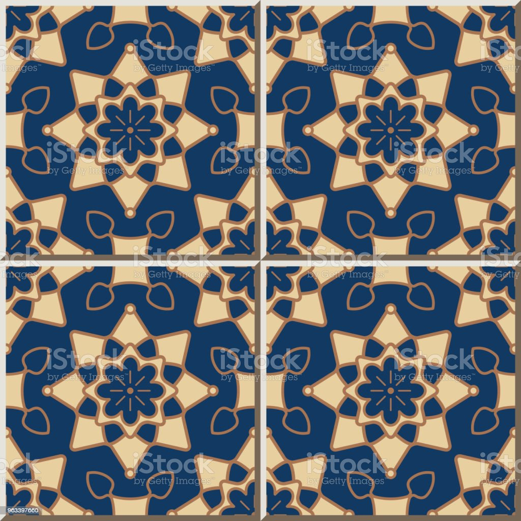 Ceramic tile pattern Round Curve Star Cross Frame Flower - Grafika wektorowa royalty-free (Antyczny)