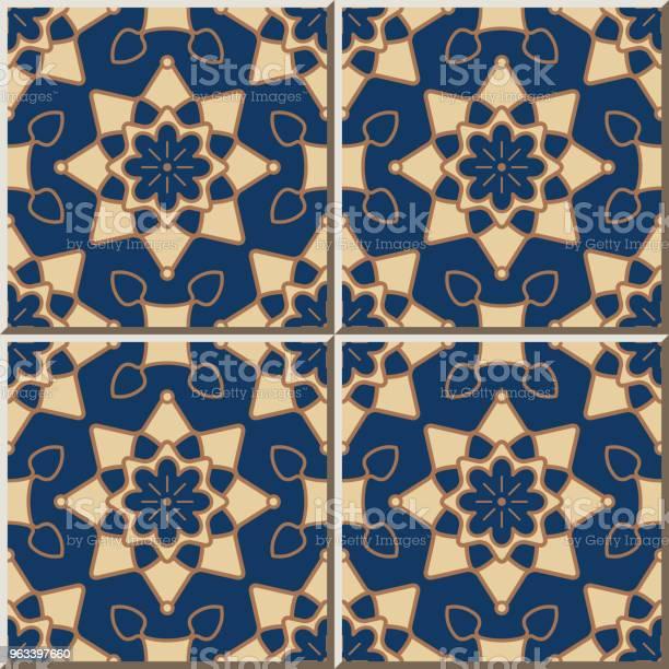 Wzór Płytki Ceramicznej Okrągła Krzywa Star Cross Frame Flower - Stockowe grafiki wektorowe i więcej obrazów Antyczny