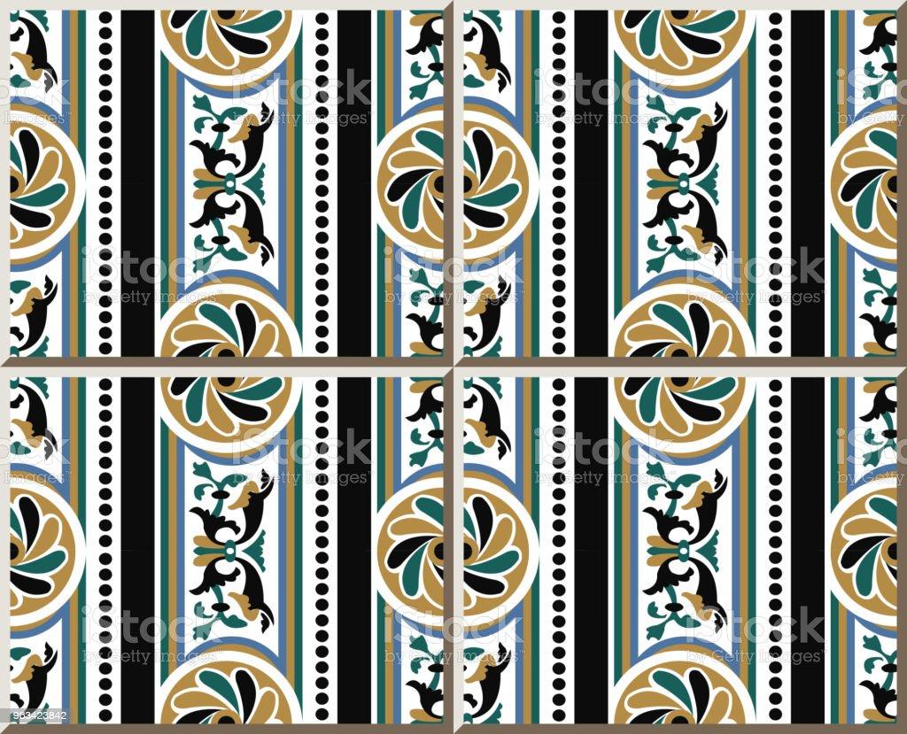 Wzór płytki ceramicznej okrągła krzywa spiralna krzyż kwiat kropka linia ramki - Grafika wektorowa royalty-free (Antyczny)