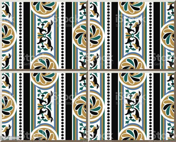 Wzór Płytki Ceramicznej Okrągła Krzywa Spiralna Krzyż Kwiat Kropka Linia Ramki - Stockowe grafiki wektorowe i więcej obrazów Antyczny