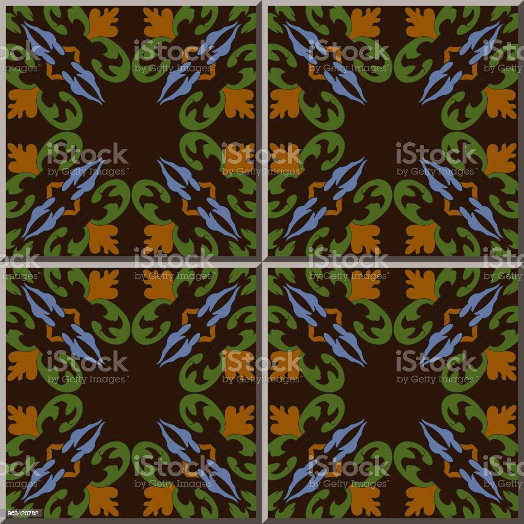 Ceramic Tile Pattern Spiral Curve Cross Leaf Vine Plant Stock Vector