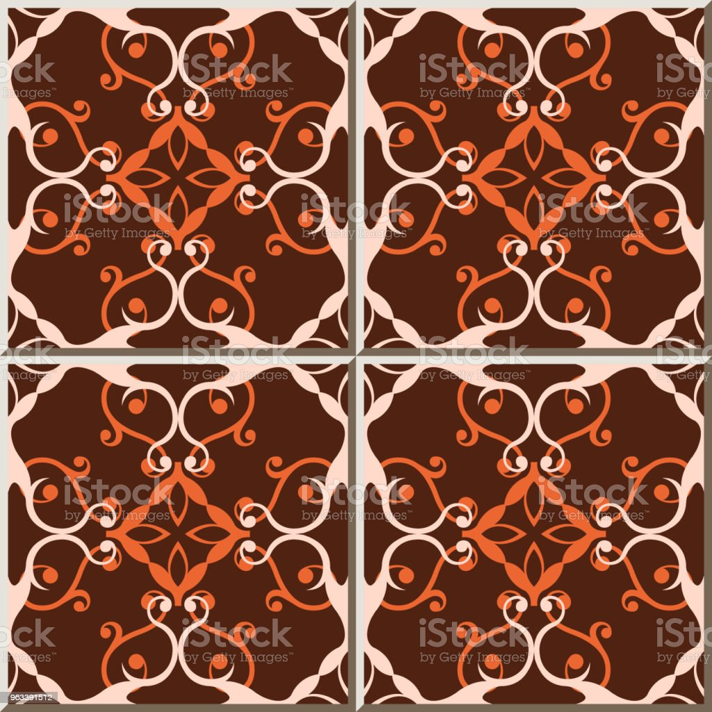 Ceramic tile pattern spiral curve cross vine flower kaleidoscope - Grafika wektorowa royalty-free (Antyczny)