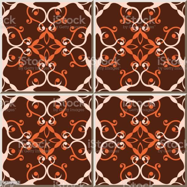 Ceramiczna Płytka Wzór Krzywa Spiralna Krzyż Winorośli Kwiat Kalejdoskop - Stockowe grafiki wektorowe i więcej obrazów Antyczny