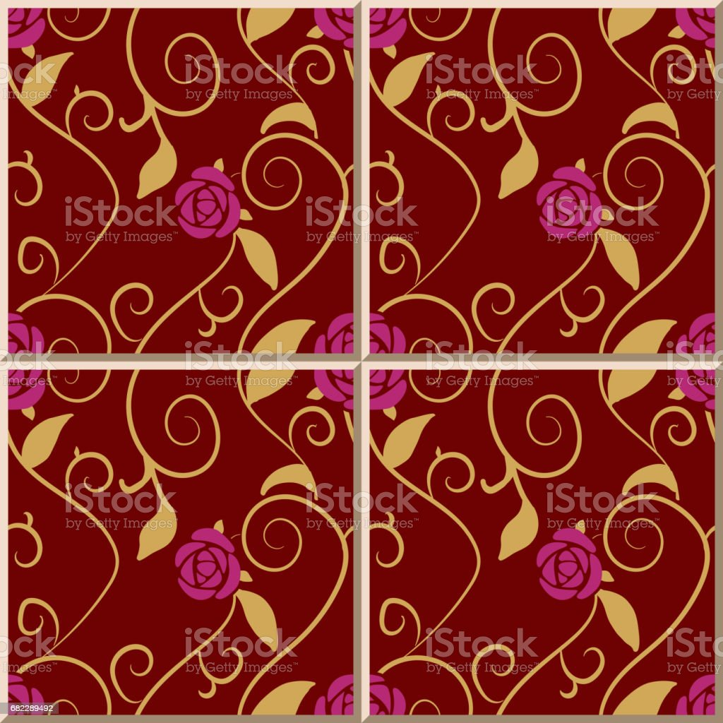 Ceramic tile pattern spiral gold leaf vine purple pink rose flower ceramic tile pattern spiral gold leaf vine purple pink rose flower royalty free stock vector doublecrazyfo Images