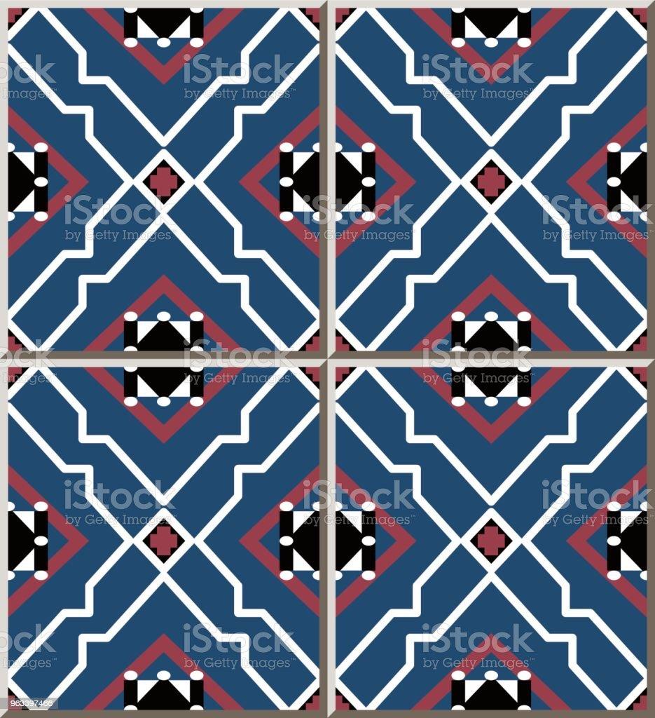 Wzór płytki ceramicznej Star Polygon Geometria Cross Check Frame - Grafika wektorowa royalty-free (Antyczny)