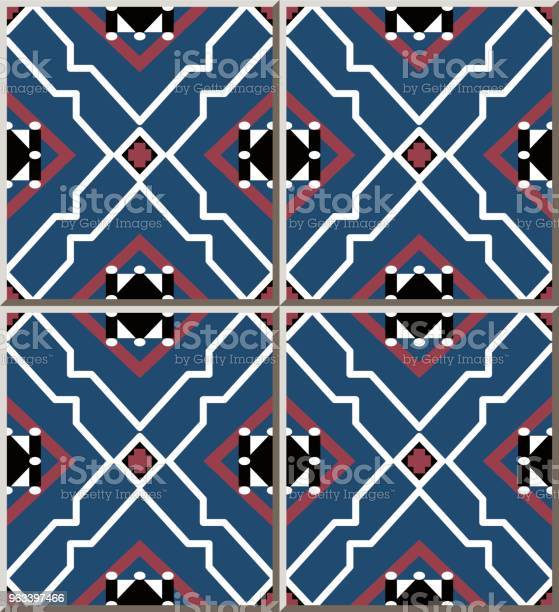 Wzór Płytki Ceramicznej Star Polygon Geometria Cross Check Frame - Stockowe grafiki wektorowe i więcej obrazów Antyczny