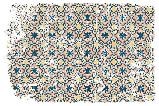 Ceramic Tiles Retro Oriental Grunge Background with Azulejos Portuguese Spanish Vintage Design