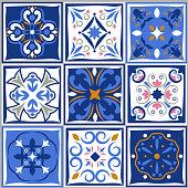 Ceramic tiles vintage patterns. Vector spanish style architecture blue tale set