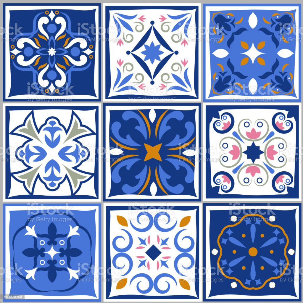 Ceramic tiles vintage patterns. Vector spanish style architecture blue tale set - Illustration vectorielle