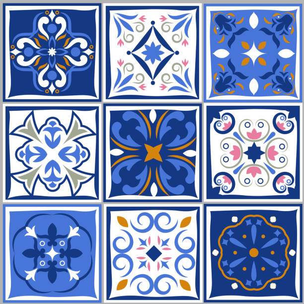 illustrations, cliparts, dessins animés et icônes de carreaux de céramique vintage motifs. vector style espagnol architecture bleu conte ensemble - cuisine espagnole