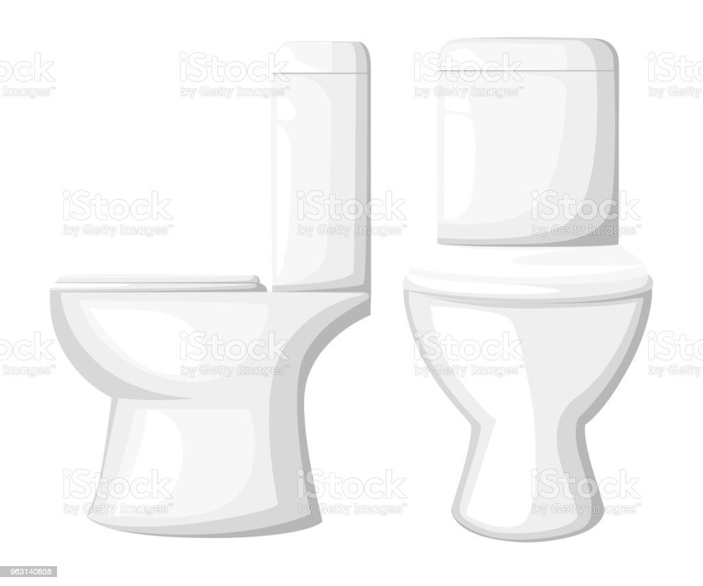 Ceramic Toilet Bowl Seat Close Vector Illustration Isolated On White ...