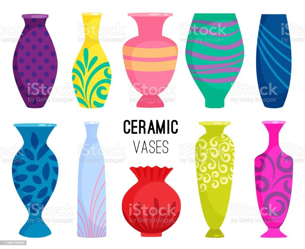 Ceramic vases collection. Colored ceramics vase objects, antique...