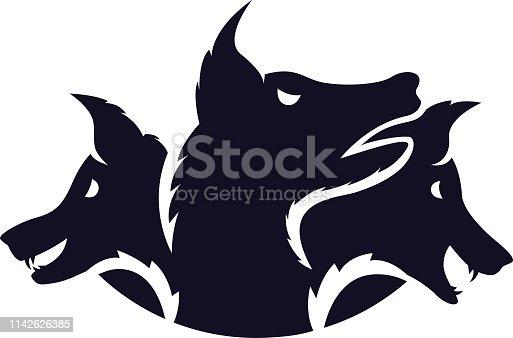 Vector illustration logo of a three headed hound Cerberus