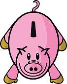 Cerdo hucha rosa