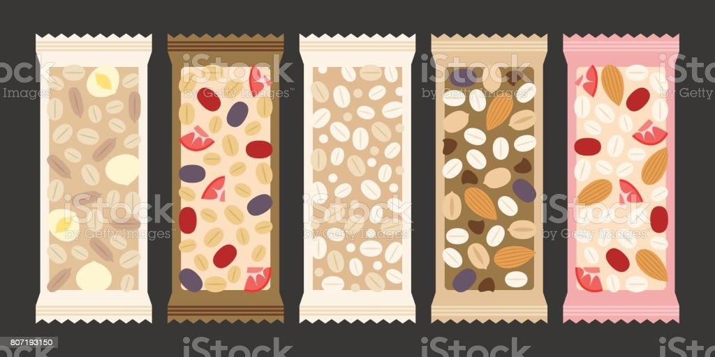 cereal and granola bar vector art illustration