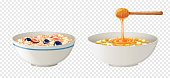 Cereal and honey in bowls