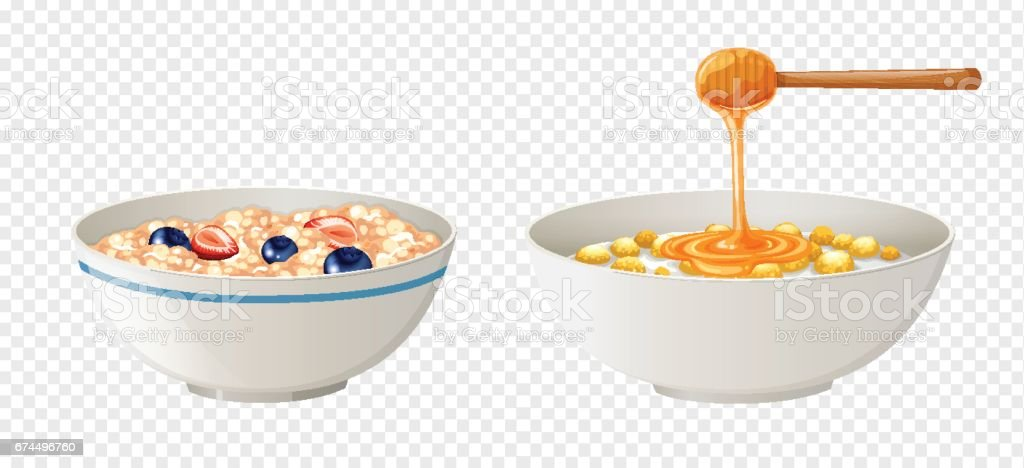 Cereal and honey in bowls vector art illustration