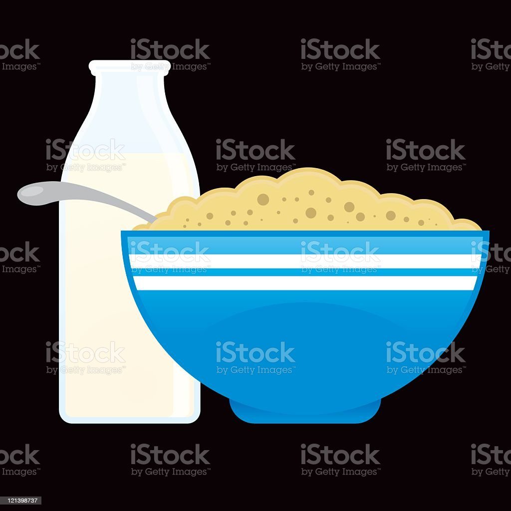 Cereal and Milk vector art illustration