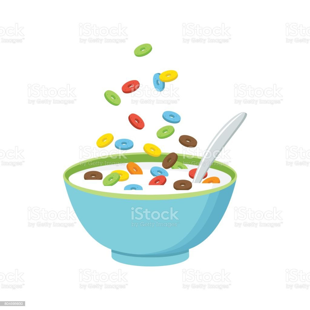 Cereal bowl with milk, smoothie isolated on white background. Concept of healthy and wholesome breakfast. Vector illustration vector art illustration