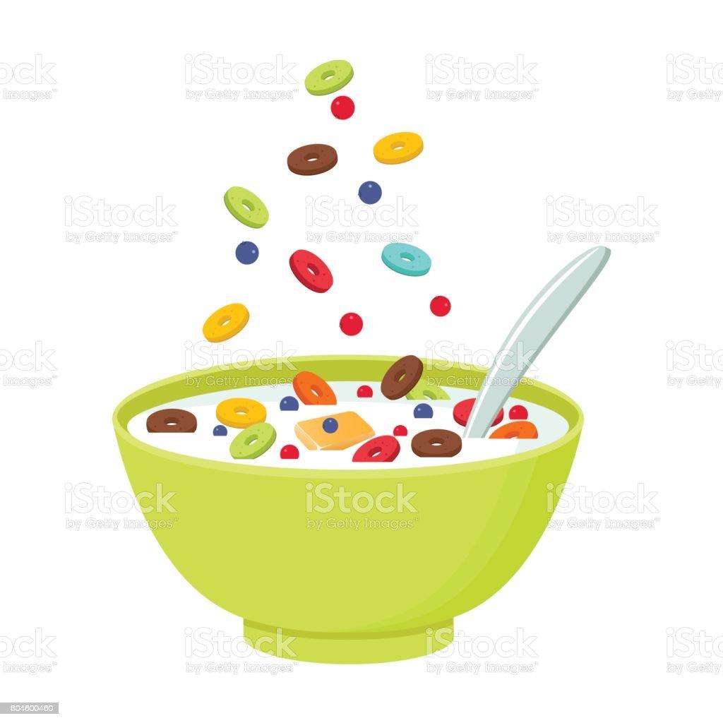 Tigela de cereal com leite, batido, isolado no fundo branco. Conceito de pequeno-almoço saudável e salutar. Ilustração vetorial - ilustração de arte em vetor