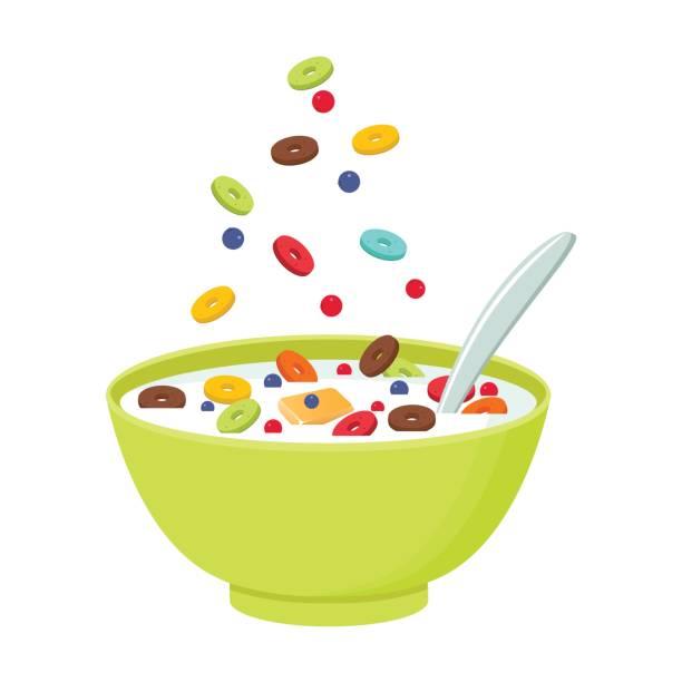 Cereal bowl with milk, smoothie isolated on white background. Concept of healthy and wholesome breakfast. Vector illustration Vector illustration. Cereal bowl with milk, smoothie isolated on white background. Concept of healthy and wholesome breakfast. cereal plant stock illustrations