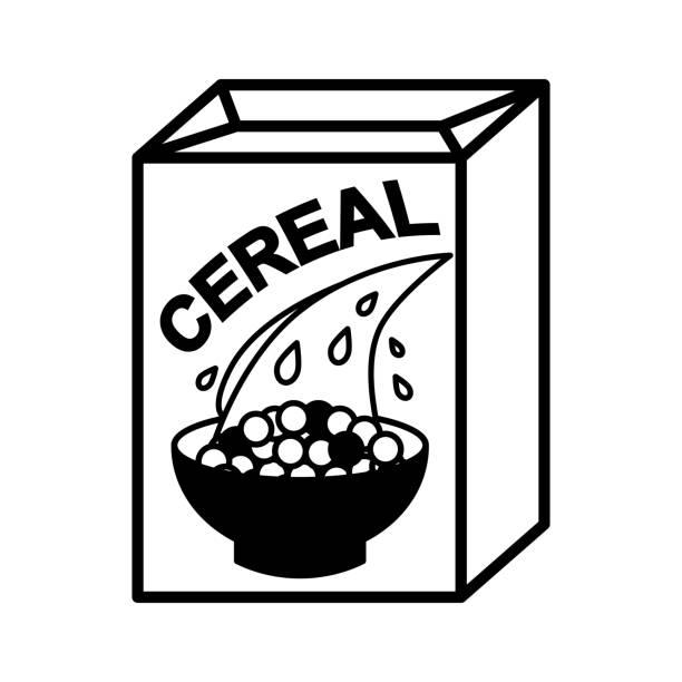 illustrazioni stock, clip art, cartoni animati e icone di tendenza di cereal box and bowl - corn flakes