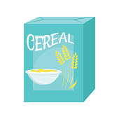 Illustration of a cereal box on a white background