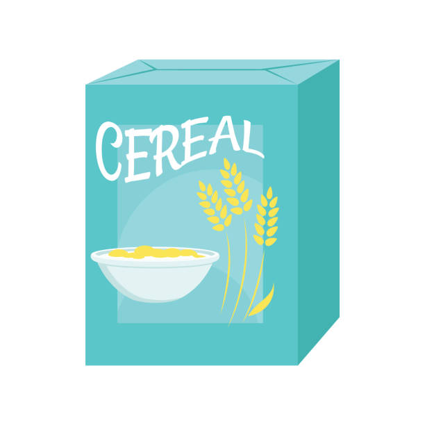 Cereal box icon Illustration of a cereal box on a white background cereal plant stock illustrations