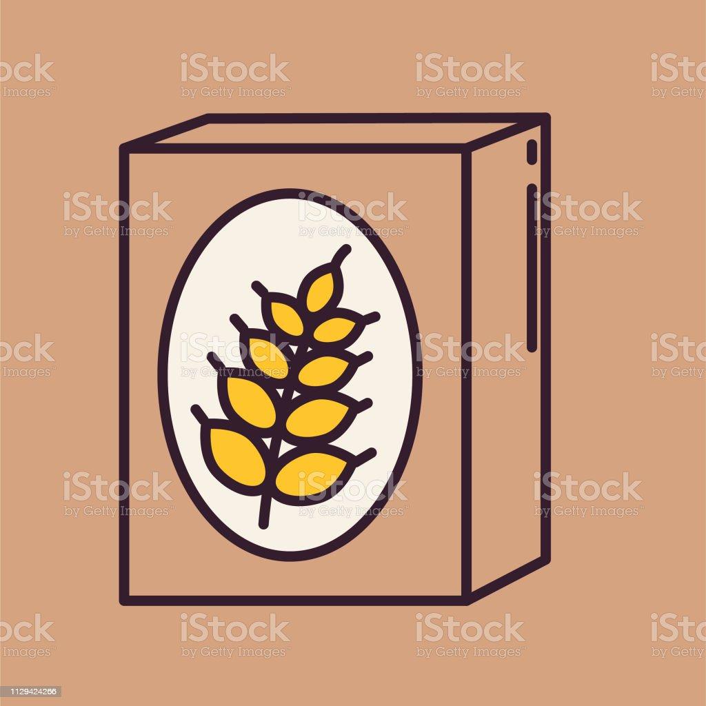 Cereal Box- Thin Line Breakfast Icon - Royalty-free Arte arte vetorial