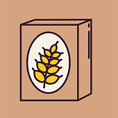 A thin line icon from a set of breakfast themed icons. Cereal Box.