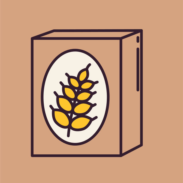 Cereal Box- Thin Line Breakfast Icon A thin line icon from a set of breakfast themed icons. Cereal Box. cereal stock illustrations