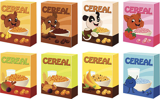Cereal Boxes Vector illustration of various cereal boxes with cute mascots. cereal plant stock illustrations