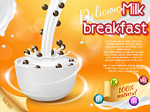 Cereal bowl with splashing milk and falling chocolate cereal balls. Vector realistic illustration. Cereal breakfast packaging design template or new natural breakfast product advertising poster.