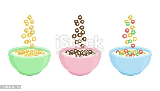 Cereal breakfast. Ceramic bowl with milk and different sweet crunchy flakes. Falling colorful cereal loops. Healthy food for kids. Vector illustration