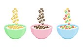 istock Cereal breakfast. Ceramic bowl with milk and different sweet crunchy flakes. Falling colorful cereal loops. Healthy food for kids. Vector 1189716157
