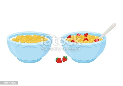 Cereal breakfast. Milk and sweet crunchy flakes with strawberry. Ceramic bowl with spoon. Healthy food for kids. Vector illustration