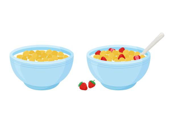 ilustrações de stock, clip art, desenhos animados e ícones de cereal breakfast. milk and sweet crunchy flakes with strawberry. ceramic bowl with spoon. healthy food for kids. vector - muesli