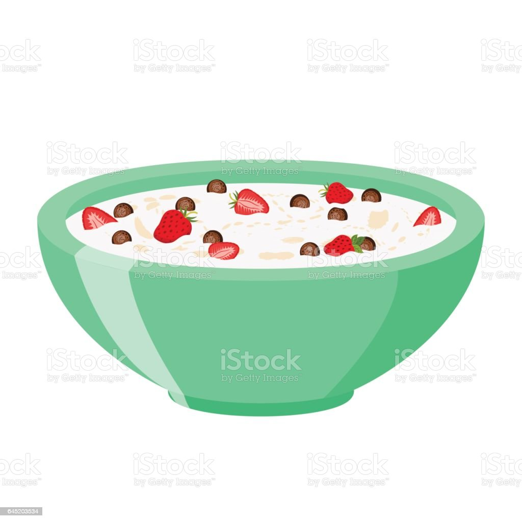 Cereal chocolate balls with strawberry. Milk, oatmeal breakfast. Flat style. vector art illustration