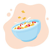 istock Cereal flake milk breakfast. Ceramic bowl rolled oats with strawberry. Healthy food for kids. Vector 1220664212