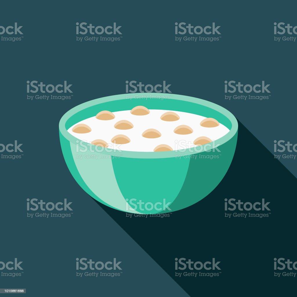 Cereal Flat Design Breakfast Icon - Royalty-free Alimentação Saudável arte vetorial