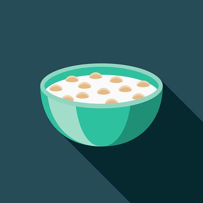 Cereal Flat Design Breakfast Icon - Arte vetorial de stock e mais imagens de Alimentação Saudável