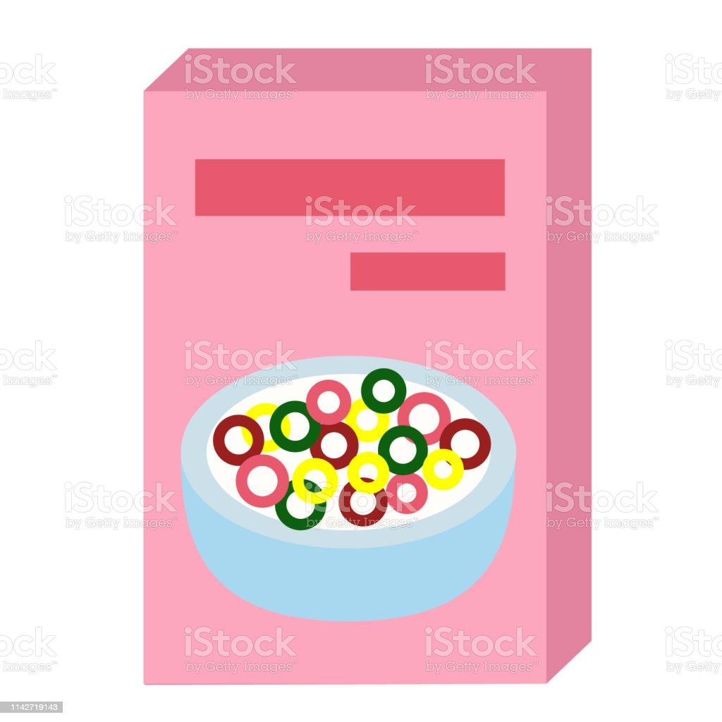 cereal flat illustration on white - Royalty-free Alimentação Saudável arte vetorial