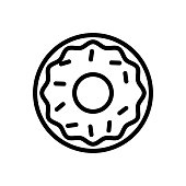 cereal icing donut icon vector. cereal icing donut sign. isolated contour symbol illustration