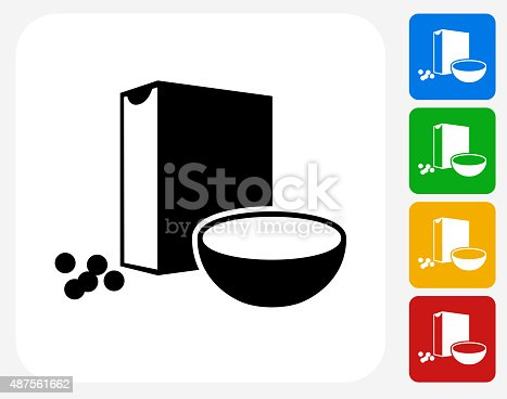 Cereal Icon. This 100% royalty free vector illustration features the main icon pictured in black inside a white square. The alternative color options in blue, green, yellow and red are on the right of the icon and are arranged in a vertical column.