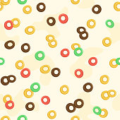istock Cereal milk breakfast seamless pattern. Cartoon oatmeal. Cute background with different sweet cornflakes. Fruits and chocolate colorful cereal loops. Vector 1301086023