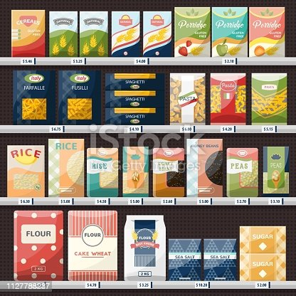 istock Cereals and spaghetti, oatmeal at shop showcase 1127788237
