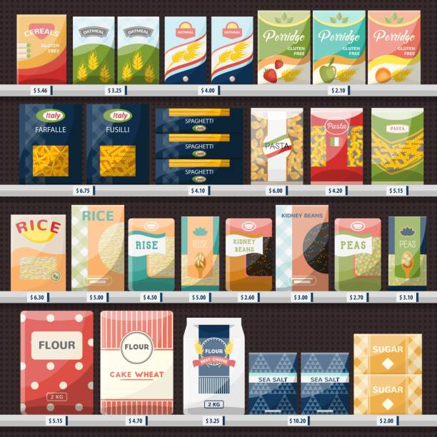 illustrazioni stock, clip art, cartoni animati e icone di tendenza di cereals and spaghetti, oatmeal at shop showcase - pasta