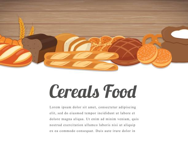 Cereals food card design. Food background with colorful cereals and grains. Natural food concept. Vector vector art illustration